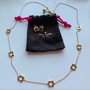 Kate Spade Cut Out Logo Necklace & Earings